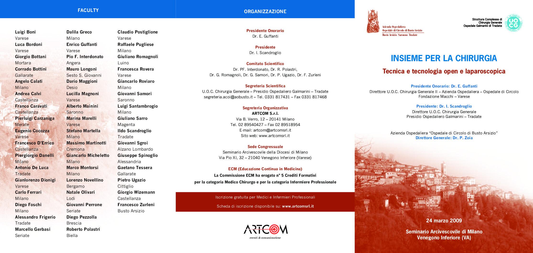 Programma Congresso Insieme per la Chirurgia tradate varese 2009