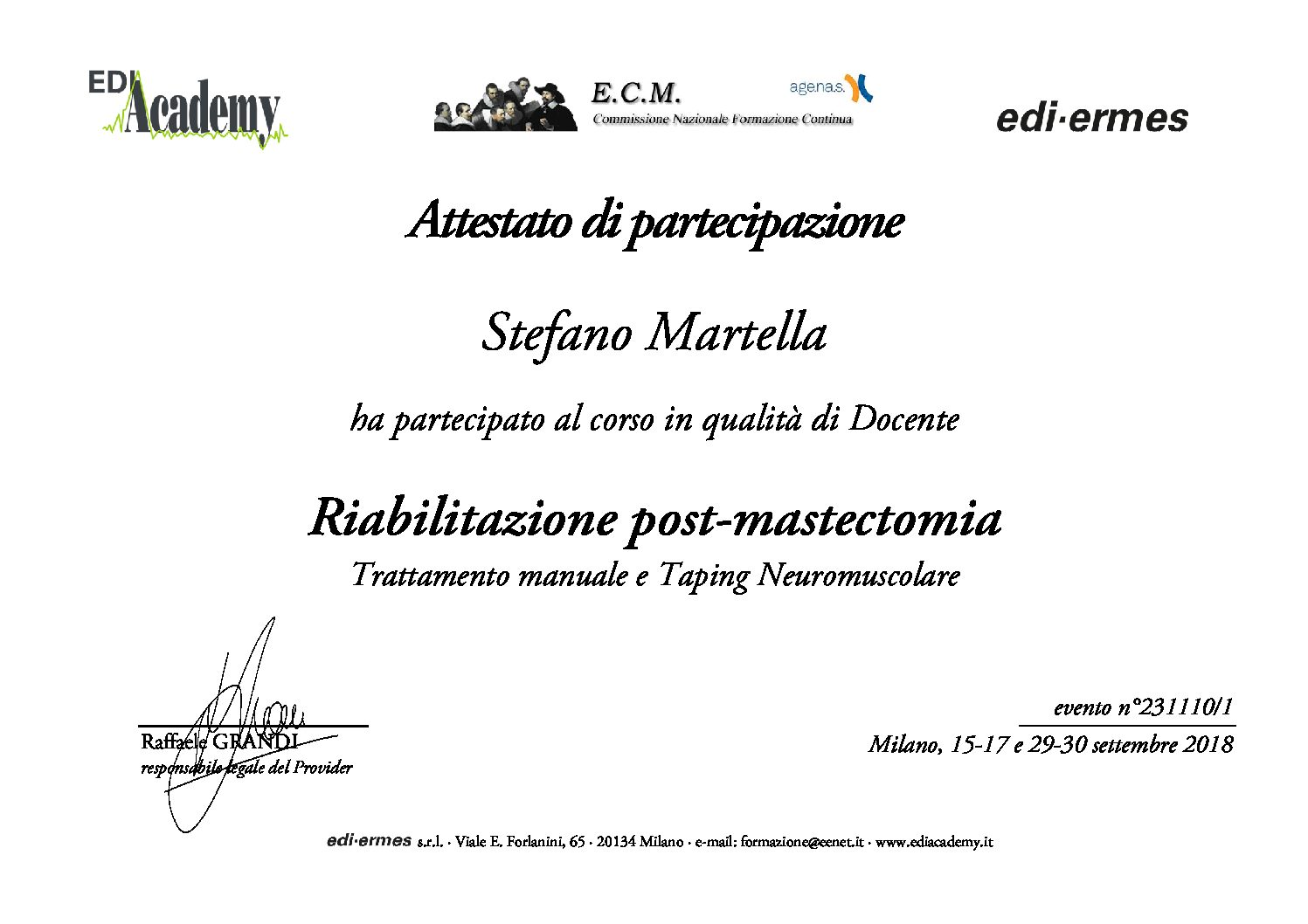 attestato docenza master fisioterapia 2018